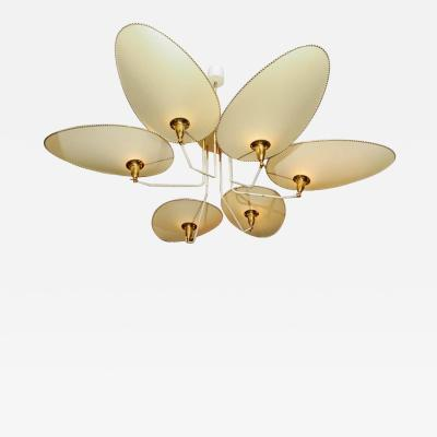 Diego Mardegan Brass and Parchment Paper Chandelier by Diego Mardegan for Glustin Luminaires