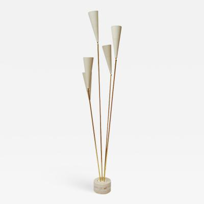 Diego Mardegan Travertin and Brass Midcentury Style Floor Lamp by Diego Mardegan