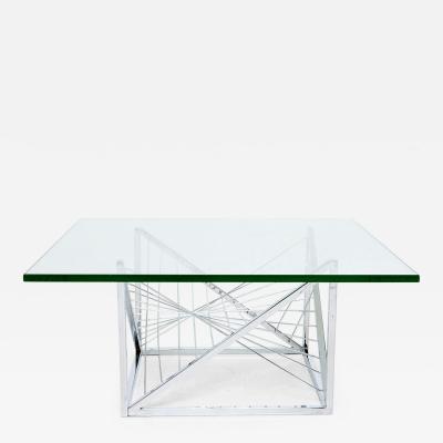 Diego Matthai Geometric Chrome Coffee Table Sculpted Metal Work attributed Diego Matthai 1980s