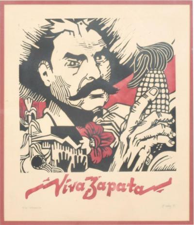 Diego Rivera Modern Mexico VIVA ZAPATA Xylography Wood Print 1981