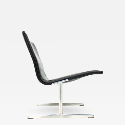 Dieter Rams Black Leather Lounge Chair by Dieter Rams for Vitsoe Zapf Germany 1960
