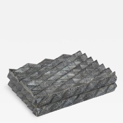 Dimensional Carved Grey Bone Box