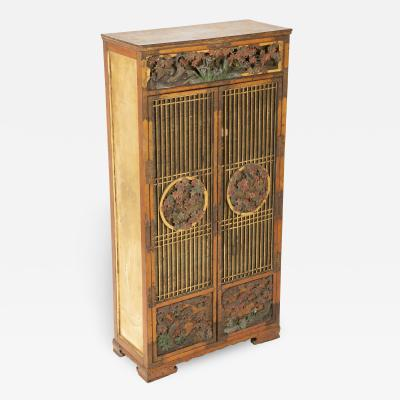 Diminutive 19th c Japanese painted wood cabinet with gold leaf side panels