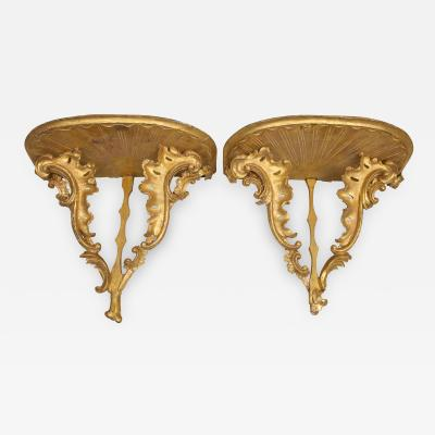 Diminutive pair of gilded wall console tables with faux marble tops