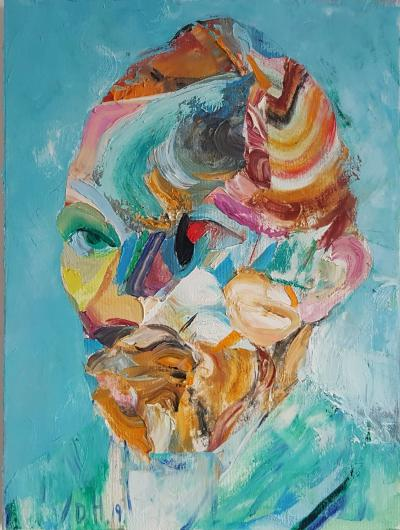 Dimitar Hinkov Original oil painting by Dimitar Hinkov Self Destruction after Van Gogh