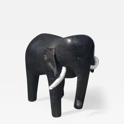 Dimitri Omersa Black Leather Elephant by Dimitri Omersa