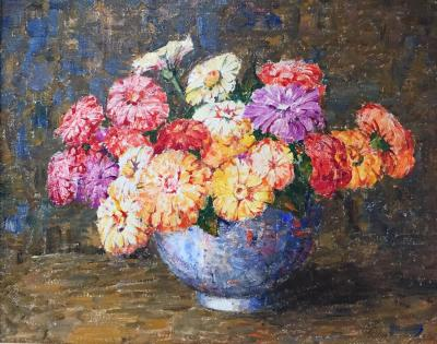 Dines Carlsen Daisies in a Blue Vase