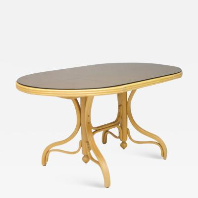 Dining Table in Wood Cane and Glass1970s