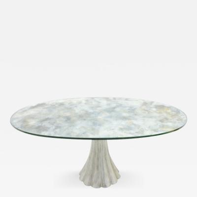 Dining Table with Oval Mirrored Glass Top France 1970s