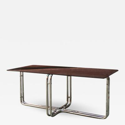 Dining table with smoked glass 1970s