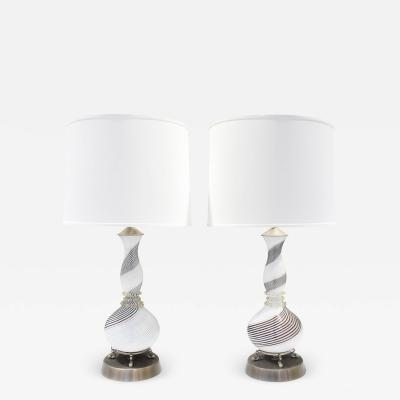 Dino Martens Dino Martens Pair of Hand Blown Glass Table Lamps 1950s