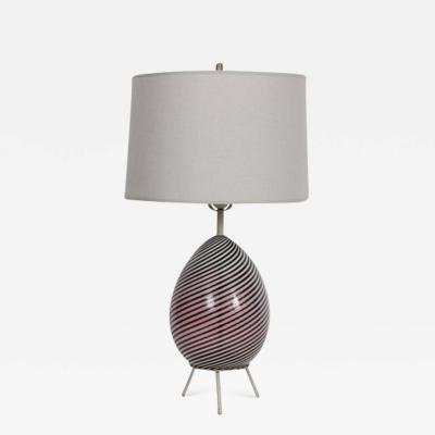 Dino Martens Dino Martens for Aureliano Toso Cranberry Twist Table Lamp on Tripod Base
