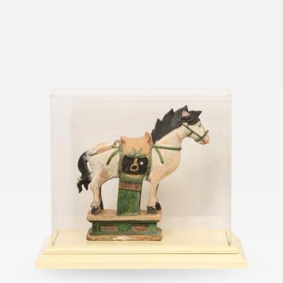 Documented Ming Era Sacai Glazed Pottery Figure of a Horse China with C O A