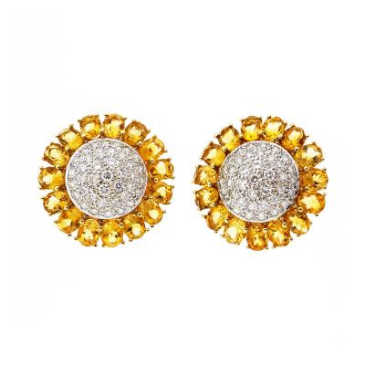 Domed Button Citrine Diamond Cluster Gold Earrings