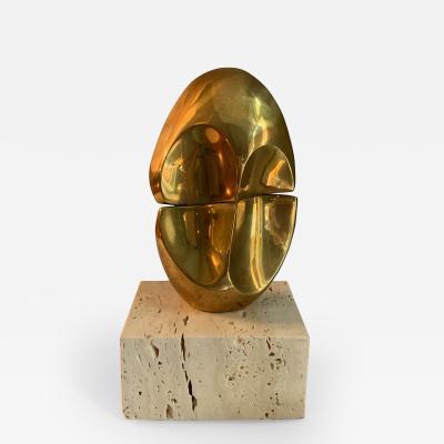 Domenico Calabrone Brazilian Bronze Travertine Miniature Sculpture By Domenico Calabrone 1970s