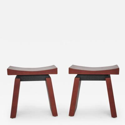 Dominic Chambon French Red Leather Stools by Dominic Chambon