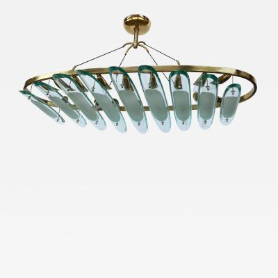 Dominici Oval Brass Fontana Arte for Dominici Chandelier with Long Glass Pieces