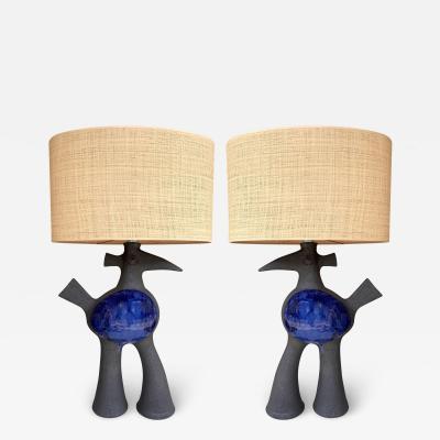 Dominique Pouchain Pair of Bird Ceramic Lamps by Dominique Pouchain France 2020