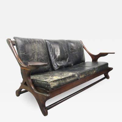 Don Shoemaker Don Shoemaker Leather Rosewood Sofa