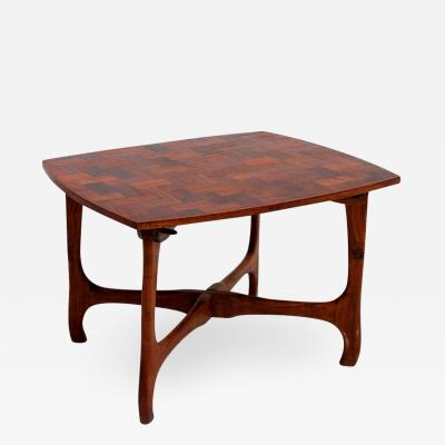 Don Shoemaker Don Shoemaker Senal Side Table in Exotic Cocobolo Wood Marquetry 1950s Mexico