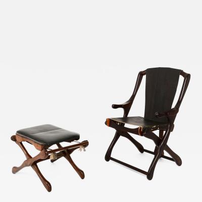 Don Shoemaker Mexican Modernist Don Shoemaker Famed Scissor Sling Folding Armchair w Ottoman