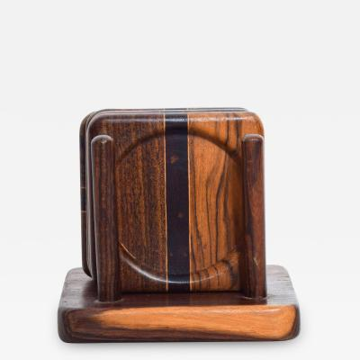 Don Shoemaker Mid Century Modern Set of 4 Coasters by Don S Shoemaker Cocobolo Wood
