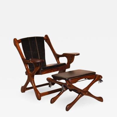 Don Shoemaker Original Don Shoemaker Sling Swinger Chair and Ottoman 1960s