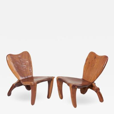 Don Shoemaker Pair of Craft Wooden Studio Lounge Chairs by Don Shoemaker Mexico 1960s