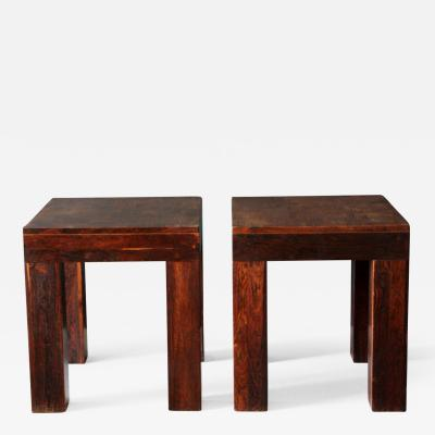 Don Shoemaker Pair of tropical wood Parsons Side Tables