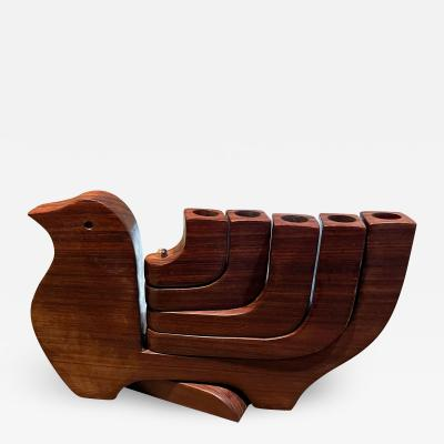 Don Shoemaker Wood PEACE Dove Splayed 5 Arm Candle Holder Don Shoemaker Mexico 1970s