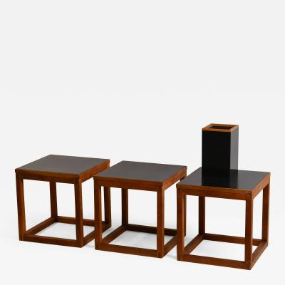 Donald Clarence Judd Set of 3 Minimal Teak and Laminate Cube Tables in the Style of Donald Judd