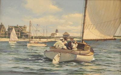 Donald Demers Rounding the Light of Brant Point by Donald Demers