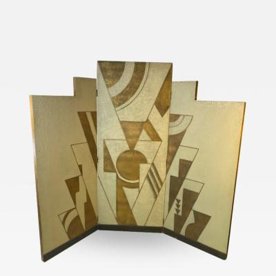 Donald Deskey ART DECO GEOMETRIC DESIGN THREE PANEL ROOM SCREEN IN THE MANNER OF DONALD DESKEY