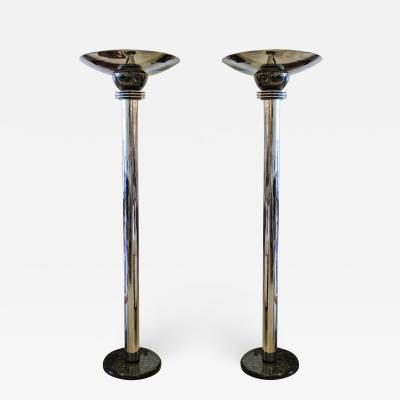 Donald Deskey American Art Deco Polished Nickel Gunmetal and Marble Torcheres
