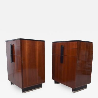 Donald Deskey DONALD DESKEY Art Deco Moderne Walnut Black Glossy Cabinets Set by Hamilton Mfg