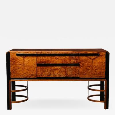 Donald Deskey Donald Deskey Art Deco Black Lacquer Burled Carpathian Elm Walnut Sideboard