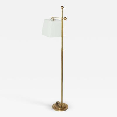 Donald Deskey Donald Deskey Art Deco Brass Floor Lamp with Off White Linen Shade 1930s