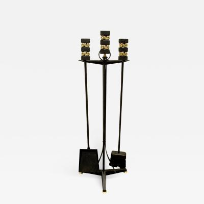 Donald Deskey Donald Deskey Fireplace Tool Set in Wrought Iron and Brass 1950s