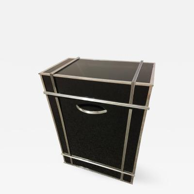 Donald Deskey Modernist Black Glass and Chrome Art Deck Hamper attributed to Donald Deskey