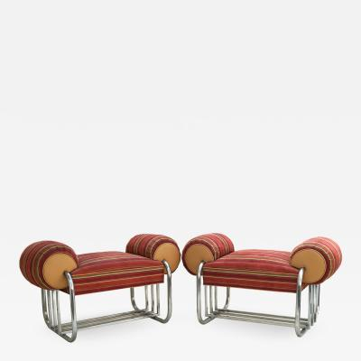 Donald Deskey Pair of Art Deco Machine Age Tubular Chrome Bench Benches by Donald Deskey