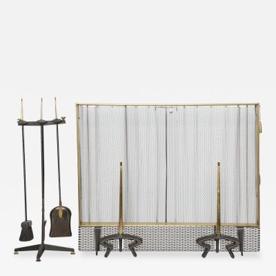 Donald Deskey Seven Piece Fireplace Set by Donald Deskey for Bennett