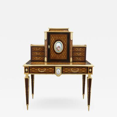 Donald Ross Antique Neoclassical Style Writing Desk with Porcelain Mounts by Donald Ross