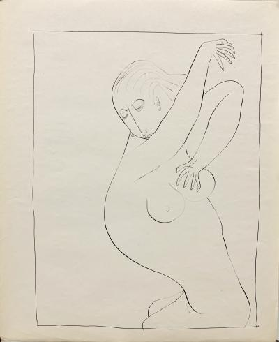 Donald Stacy 1950s Female Nude Ink Line Drawing Shower University of Paris 1953 54