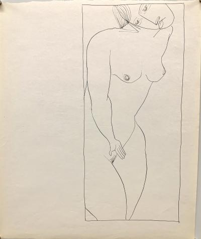 Donald Stacy Mid Century Ink Female Nude Line Drawing NYC Artist University of Paris 1953 54