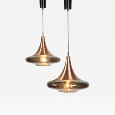 Doria Leuchten 2 beautiful Doria glass lamps with copper