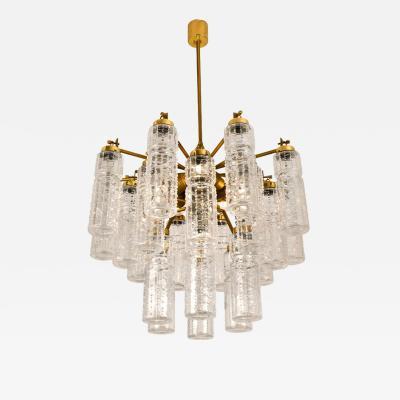 Doria Leuchten Doria Textured Glass and Brass Chandelier 1960
