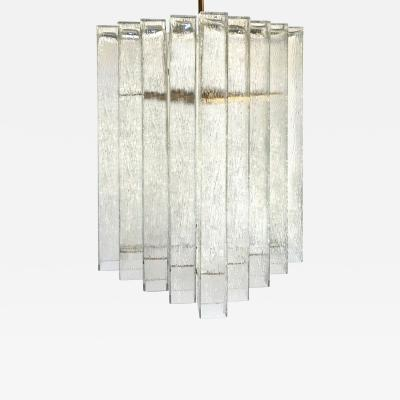 Doria Leuchten German Textural Glass Chandelier by Doria Two Available