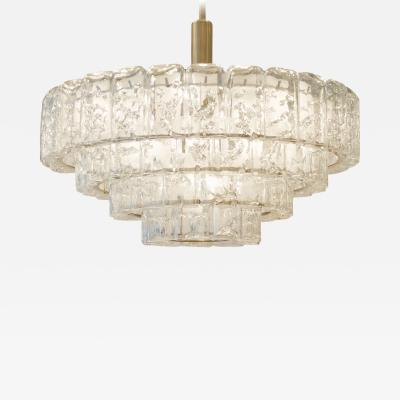 Doria Leuchten Massive Four Tier Doria Organic Ice Glass Chandelier