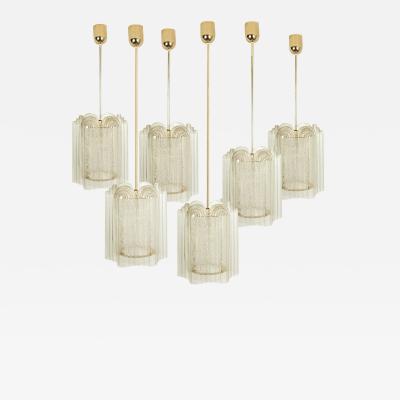 Doria Leuchten One of Eight Art Deco Style Glass and Brass Doria Pendant Lights 1960s