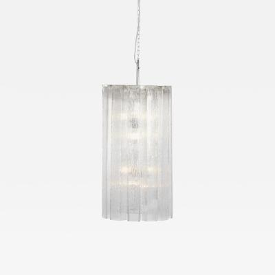Doria Leuchten One of Two Large Ice Glass Pendant Lamps by Doria Germany 1970s